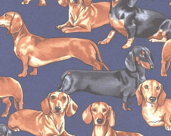 Dachshund Dog Fabric Dachshunds with Sweaters Timeless Treasures Novelty Fabric by Hot Diggity Dog Fabrics fun