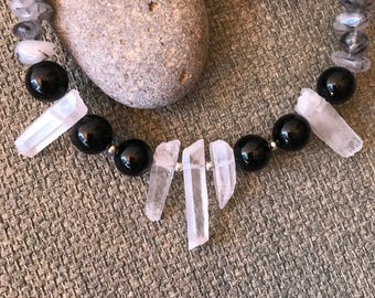 Crystal Quartz Point and Onyx Choker Necklace