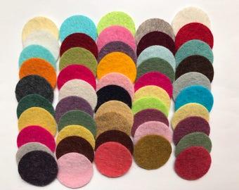 Wool Felt Circles Die Cut 50 - 1 inch Random Colored 4096 - DIY Felt - Merino Felt - Arts and Crafts - Hair Clip Supply - Die Cut Felt