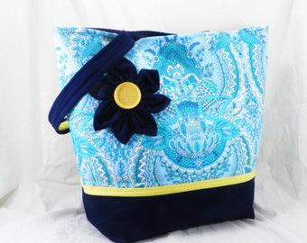 Large Purse, Shoulder Bag, Amy Butler Tote, Blue Flower, Blue and Aqua, Fountain Flora, Free Spirit, Handmade Library Bag, Large Tote Bag