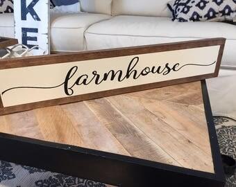 "Framed ""FARMHOUSE"" Hand Painted Wood Sign"