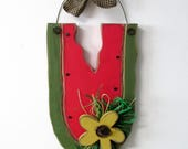Chunky Red Watermelon and Yellow Sunflower, Summer Door Hanger, Hand Crafted of Pine Wood, Tole Painted, Rustic Watermelon Door Hanger
