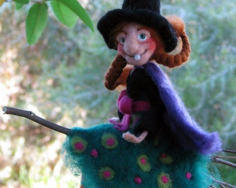 Halloween witch on broomstick Needle felted art doll Halloween decoration Kitchen witch Halloween mobile