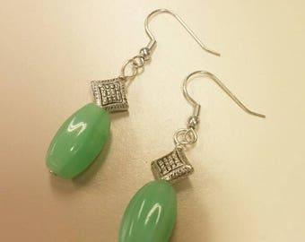 Jade and Silver Earrings, Green Earrings, Accent Silver Earrings, Carved Jade Earrings, Jade Dangle Pierced Earrings, Green Jewelry For Her