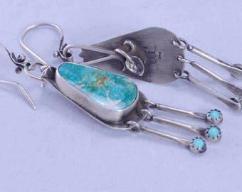 Turquoise Earrings, Dangle Earrings, Sterling Silver, Boho, Kingman, Sleeping Beauty, Silversmith
