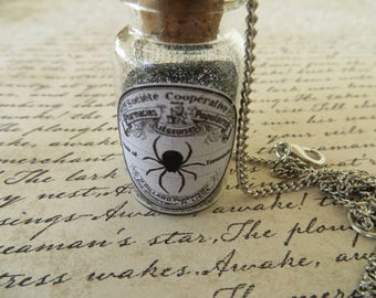 Apothecary Jar Of Spider Dust With Web Charm Necklace