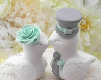 Love Birds Wedding Cake Topper, White, Mint Green and Grey, Bride and Groom Keepsake, Fully Customizable