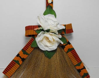 Customized African American Kente Fabric and Cowrie Shell Wedding Broom