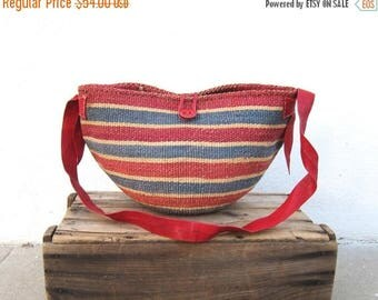 20% Off Sale Sisal Raffia Red Large Bucket Bag African Ethnic Leather Strap