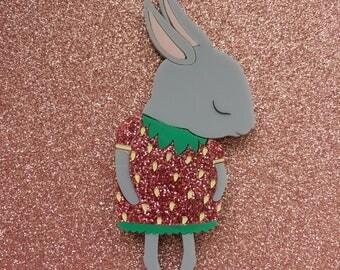Shy Bunny Handmade Laser Cut Perspex Brooch - Pink Strawberry Bunny