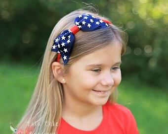 American Flag Bow Headband/All American Girl Headband/4th of July Headband/Girls Headbands/American Headband for Girls/Big Bow Headband
