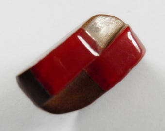 Cherry Red Bakelite over Wood Button