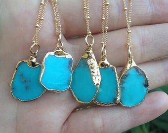 XMAS IN JULY Medio Aqua Campitos /// Turquoise Chunk Necklace /// Electroformed 24kt Gold