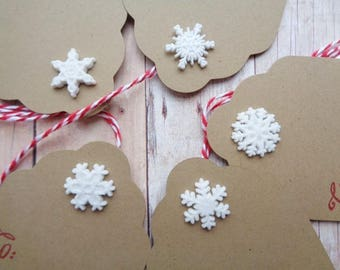 Christmas Gift Tags Snowflake Buttons To From Rustic Brown Kraft Tag