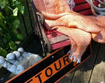 Vintage Fringe Lap Blanket Fall Color Orange