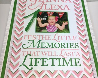 1st Birthday Time Capusule with Your Photo Keepsake Box