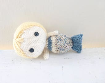 Mermaid doll, mermaid tail, doll for sale, blonde hair, blue mermaid fin, ready to ship, hand knit doll, art doll mermaid, plush mermaid