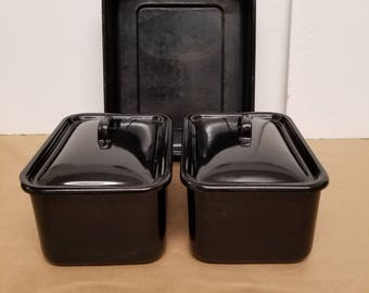 Set of 3 Vintage Black Enamelware Dishes