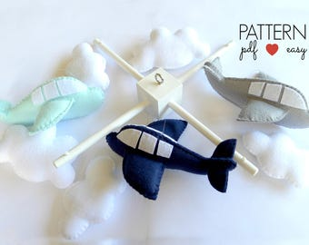Airplane Mobile, Airplane Baby Mobile, Airplane Nursery Decor, Airplane Toy Pattern, Airplane Sewing Pattern, Airplane Pattern