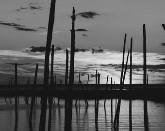 Reflections - Black & White, Digital Photographic Print, Fine Art Photography, Nature, Outdoors, Wall Art, Rustic Home Decor