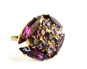 Antique Art Deco Amethyst Marquise Glass Crystal Cocktail Ring - Purple Faceted Glass Crystal & Rhinstones - Statement Ring - Adjustable