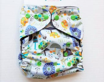 One Size, cloth diaper cover, fleece lined PUL with AI2 option, snails and mushrooms, garden, woodland