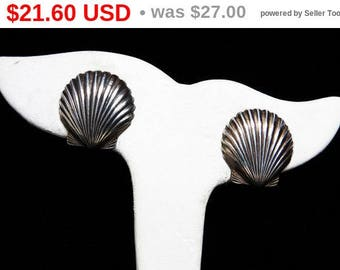 Spring Fling Sale Sterling Silver Shell Earrings - Screw Back Style Signed Vintage Jewelry