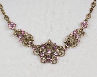 Vintage Avon choker necklace Early 1900's styling Art Deco Art Nouveau Antique gold necklace Pink and green rhinestones Floral design