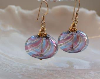 Purple Venetian Murano Blown Glass Earrings