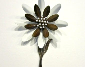 Vintage Brown White Enamel Flower Brooch Signed Vintage Jewelry Gift for Her Gift Idea under 15 Card Gift Bow Decoration