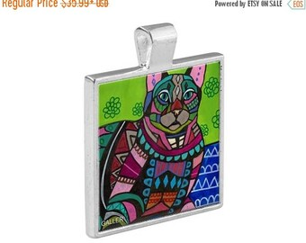 55% Off Today- Cat Folk Art Jewelry - Pendant Metal  Gift Art Heather Galler Gift-  Cat Lovers Abstract Modern Vegan Gifts