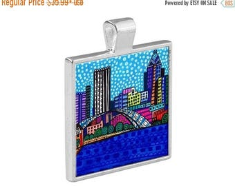 55% Off Today- San Diego California City Skyline Necklace Folk Art Jewelry - Pendant Metal  Gift Art Heather Galler Gift-  Travel Abstract V
