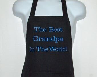 Grandpa Apron, Custom Personalized Grandparent Gift, Popser, Pop, Papa ,Gramps, Pepaw, PawPaw, No Shipping Fee,  Ships TODAY AGFT 1105