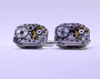 Stunning set of Rectangular watch movement cufflinks ideal gift for the birthday of a steampunk lover 97