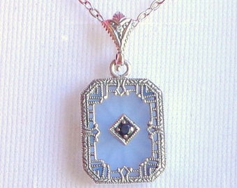 Vintage Camphor Glass Necklace, Sterling Silver Filigree, Blue Etched Glass, Victorian, Art Deco Design, Genuine Blue Sapphire