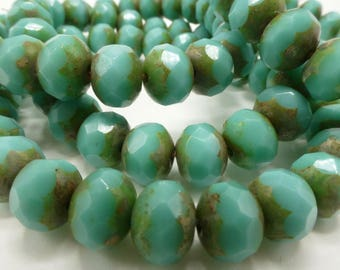 NEW COLOR  25 Czech Glass Fire Polish Roundels Opaque Green Turquoise with a Picasso Finish  6.5x5mm
