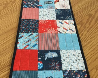 Patriotic 4th of July Red White Blue Reversible Table Runner