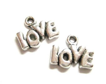 75% OFF - 20pcs Wholesale Love Charms - Silver Word Charms - Love Bead - Valentine's Day Pendant - DIY Anniversary Card Supply E71