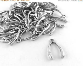 75% OFF - 500pcs Wholesale Silver Wishbone Charm -Wish Bone Pendant Be Lucky Charm Supply Bulk Lot DIY Party Favor Gift Teen Girl Women E88