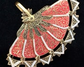 Damascene Spanish Folding Fan Pin Floral Design Red Black Silver Gold Brooch Signed Spain Mid Century Vintage Jewelry  318