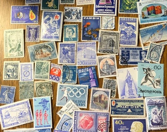 50 Blue Used World Postage Stamps for crafting, collage, cards, altered art, scrapbooks, decoupage, history, collecting, philately 1a