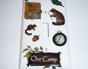 Our Camp Single Lightswitch Cover, Compass, Squirell, Racoon, Acorn, Camp Sign, Kids Room