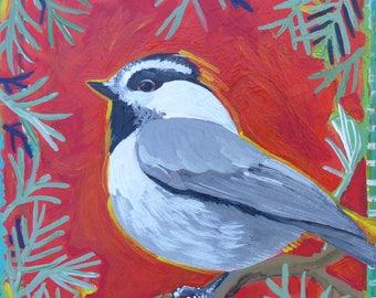 Original Acrylic A Piney Pal Chickadee Painting