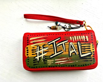 Tribal Immunity Hand Painted Vegan Leather Ital Double Zipper Wristlet Wallet