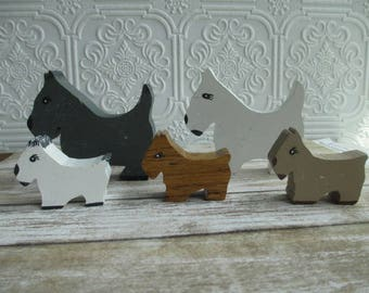 Vintage Handmade Wooden Scotty Dogs Shelf Sitters Miniature set of 5 - Wood Folk Art