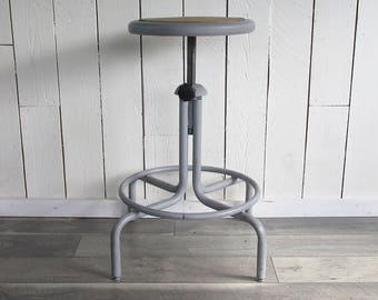 Mid Century Industrial Style Drafting Stool, Drafting Chair, Adjustable Height