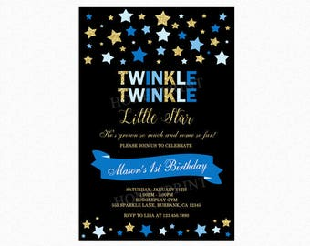 Twinkle Twinkle Little Star Birthday Invitation, First Birthday Party Invitation, Stars, Blue, Gold Glitter, Printable or Printed