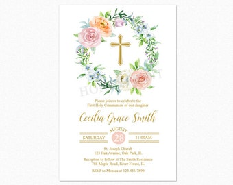 First Holy Communion Invitation, Baptism Invitation, Pink Watercolor Floral Wreath, Personalized, Printable or Printed