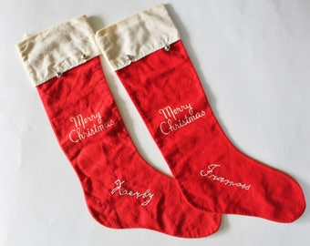 Vintage Set of Two Matching 1950's Christmas Stockings with Jingle Bells