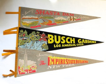 Vintage 1950's-60's Lot of 3 Souvenir Wall Pennants! The Empire State Building, Busch Gardens and The Shasta Dam!